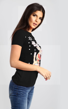 Eva Christmas Santa & Rudolph Print Cap Sleeve Tshirt In Black by Oops Fashion