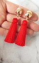 Clip-On Red Silk Tassel Earrings by Olivia Divine Jewellery