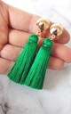 Clip-On Emerald Green Tassel Earrings by Olivia Divine Jewellery