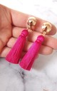 Clip-On Bright Pink Tassel Earrings by Olivia Divine Jewellery