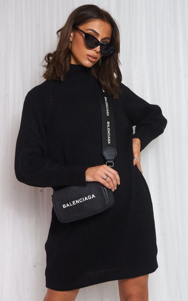BLACK OVERSIZED JUMPER DRESS by The Fashion Bible