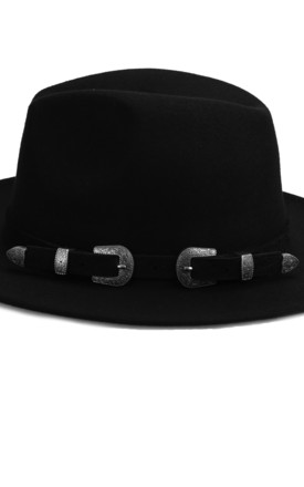 Black buckle Fedora Hat by Kate Coleman