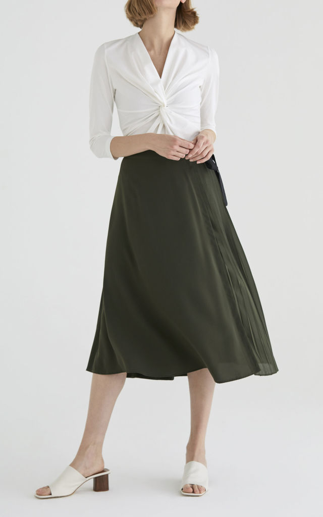 Marylebone Side Pleated Midi Skirt in Green by Paisie
