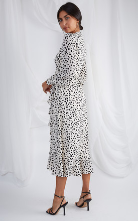 Louella Midi Wrap Dress - Cream Spot by Pretty Lavish