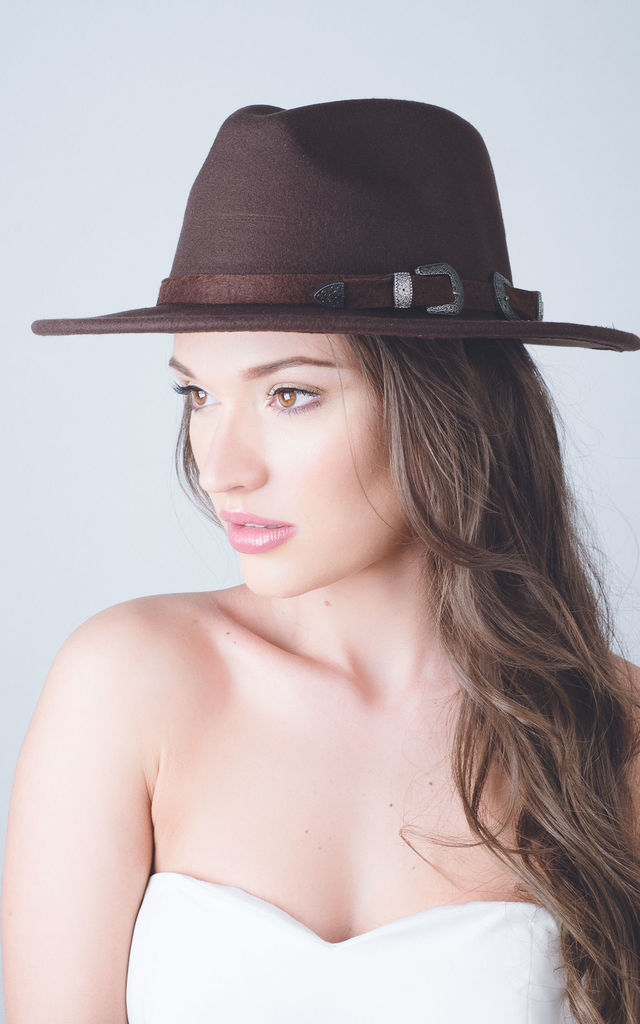 Chloe Camel nude buckle felt fedora hat by Kate Coleman
