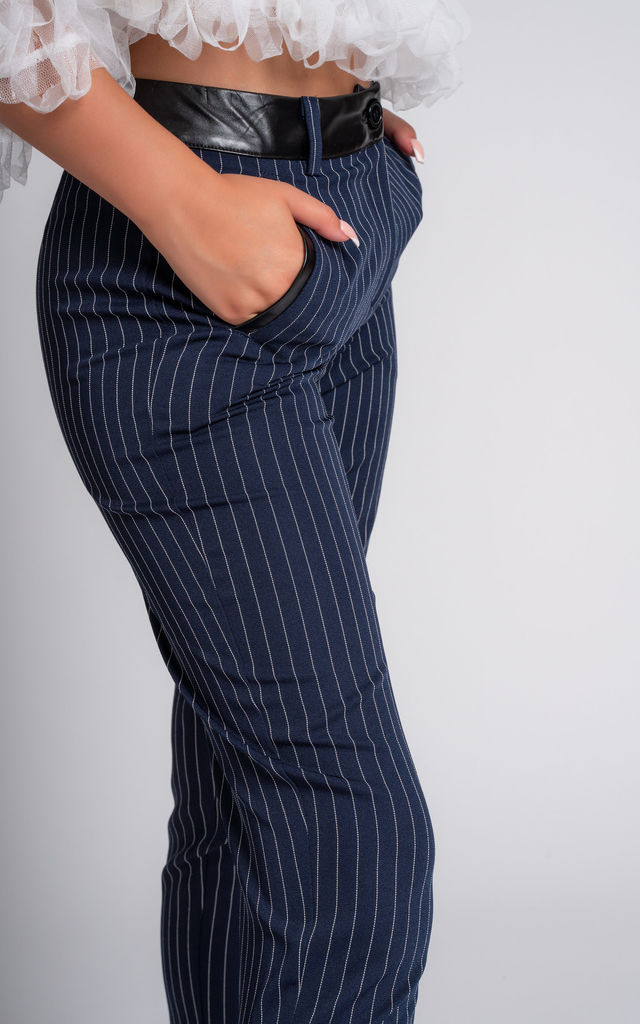 Carter Pinstripe Navy Trousers in Black/White by Miss Attire