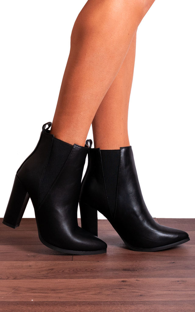 Black Chelsea Pointed Block High Heeled Ankle Boots by Shoe Closet