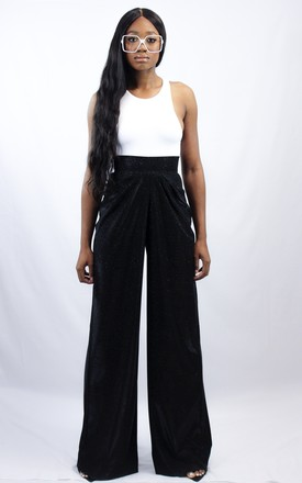 Wide leg high waisted trousers in black shimmer by OB label
