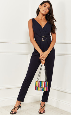 Wrap Over Jumpsuit With Belt Navy by Bella and Blue Product photo