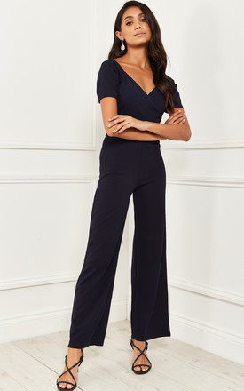 Jumpsuit With Short Sleeve and Tie back in Navy by Bella and Blue