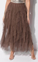 Brown Layered Tulle High Waisted Layered Tulle Ruffle Maxi Skirt by LILY LULU FASHION
