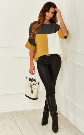 Colour Block Knitted Top In Grey And Mustard by Bella and Blue Product photo