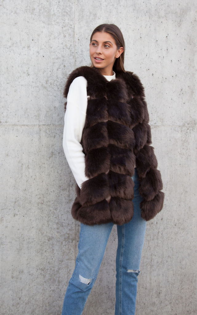 Soho Chocolate Brown Faux Fur Panelled Gilet by Styled In London