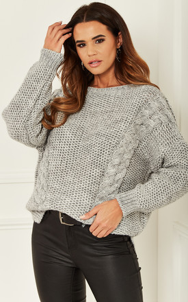Double Cable Knit Jumper In Grey by Bella and Blue Product photo