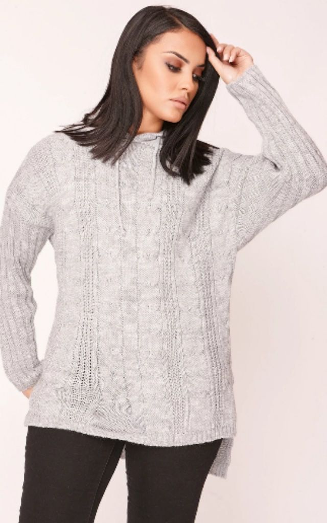 Grey Cable Knit Hooded Jumper by Hachu