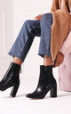 Only Love Black Nappa Heeled Boot by Linzi