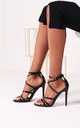 Jennifer Black Patent Heels in Gold by Linzi