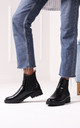 Rule Black Croc Classic Chelsea Boot With Black Studded Detail by Linzi