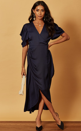 Midi Wrap Dress With Drape Sleeve In Satin Navy by Phoenix & Feather Product photo