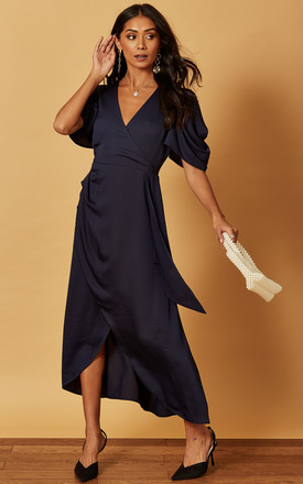 MIDI WRAP DRESS WITH DRAPE SLEEVE IN SATIN NAVY by Phoenix & Feather