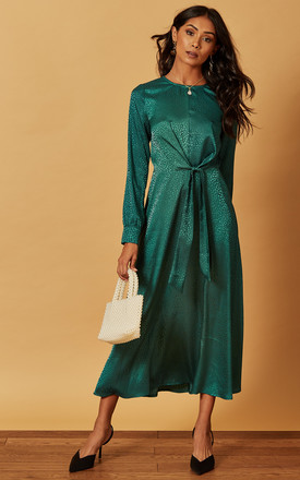 Satin Jacquard Tie Front Midi Dress In Green by Phoenix & Feather Product photo