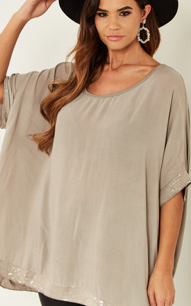 Oversized sequin hem top in natural beige by Bella and Blue