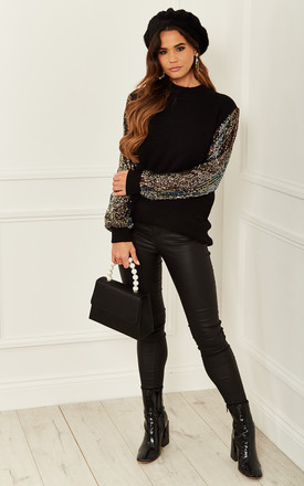 Sequin Sleeve Longline Jumper In Black by Bella and Blue Product photo