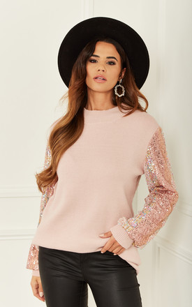 Sequin Sleeve Longline Jumper In Pink by Bella and Blue Product photo