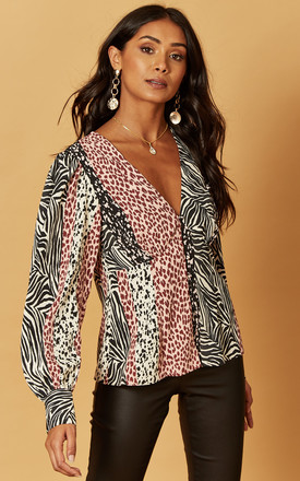 V Neck Blouse In Mixed Animal Print by Phoenix & Feather Product photo