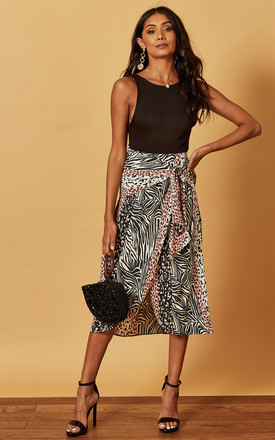 Midi Wrap Skirt In Mixed Animal Print by Phoenix & Feather Product photo