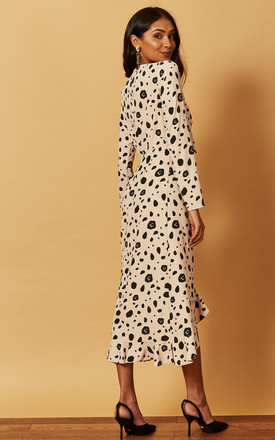 TIE FRONT MIDI DRESS IN ANIMAL PRINT BEIGE by Phoenix & Feather