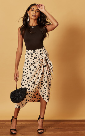 MIDI WRAP SKIRT IN ANIMAL PRINT BEIGE by Phoenix & Feather