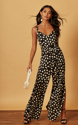 STRAPPY JUMPSUIT WITH SPLIT LEG IN Black / White Leopard Print by Phoenix & Feather
