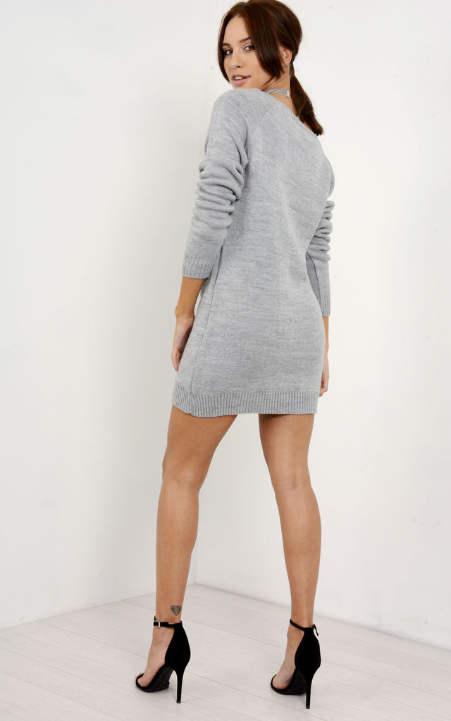 Aria Christmas Tree Grey Knitted Dress by Oops Fashion