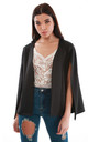 Cape Sleeve Scuba Blazer in Black by Oops Fashion