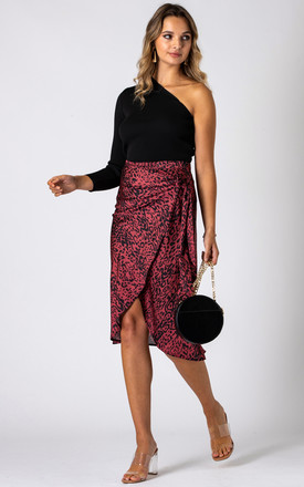 Leopard Print Wrap Midi Skirt_Red by URBAN TOUCH