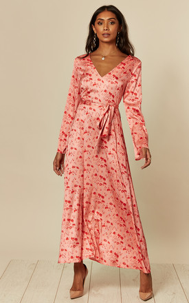 Long Sleeve A Line Dress In Red/Coral Floral Print by D.Anna Product photo