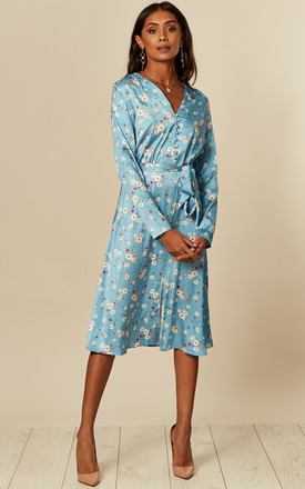 Long Sleeve Midi Dress in Heritage Blue Mini Floral Print by D.Anna