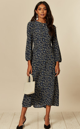 Long Sleeve Midi Dress In Navy Yellow Floral Bunch Print by D.Anna Product photo