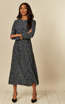 Long Sleeve Midi Dress in Navy Yellow Floral Bunch Print by D.Anna