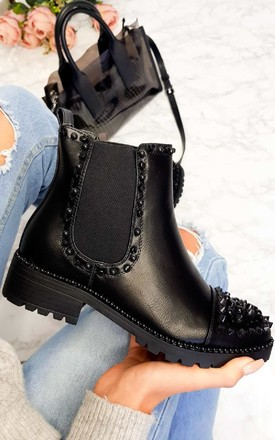Taylor Studded Ankle Boots in Black by IKRUSH