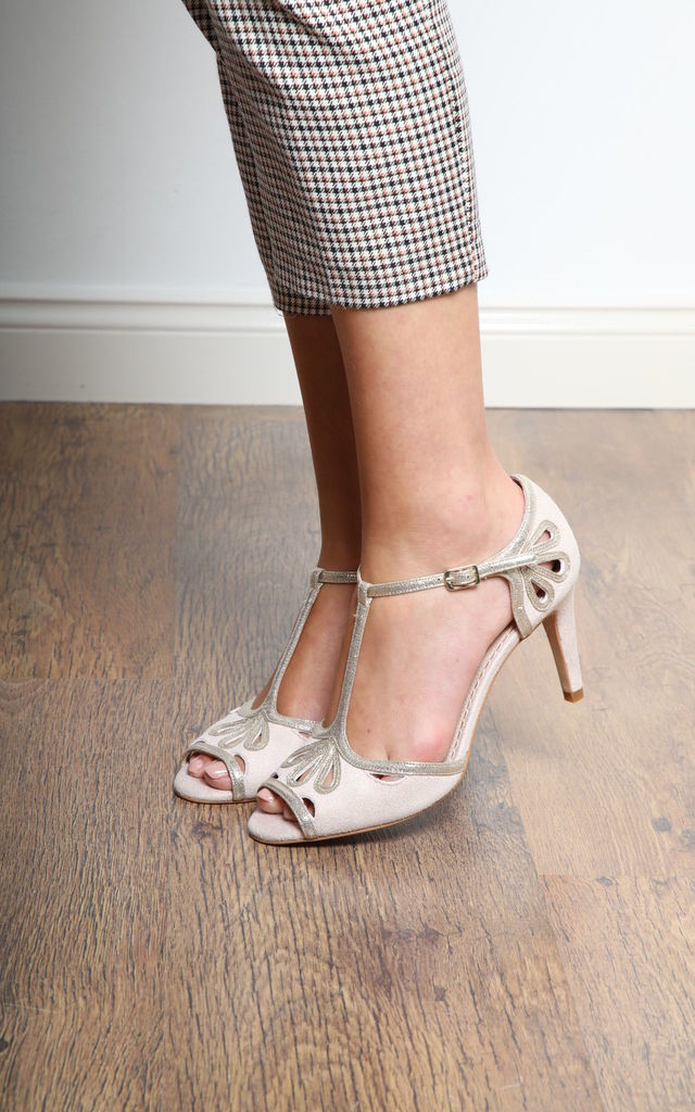 Esme High Heeled Sandals in Blush Ultra Suede & Gold Shimmer by Perfect Shoes
