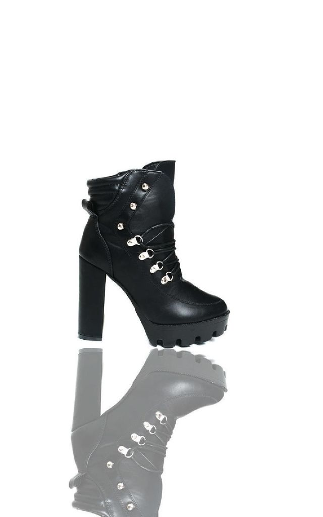 Jilly Lace Up Platform Heeled Boots in Black by IKRUSH
