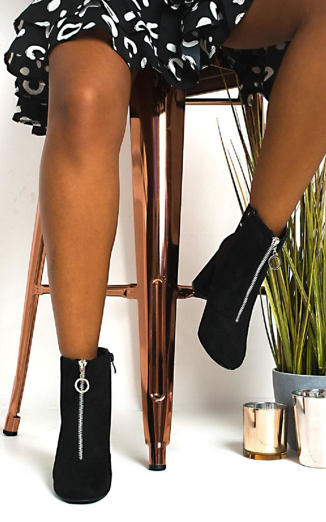 Ivy Zip Block Heel Ankle Boots in Black by IKRUSH