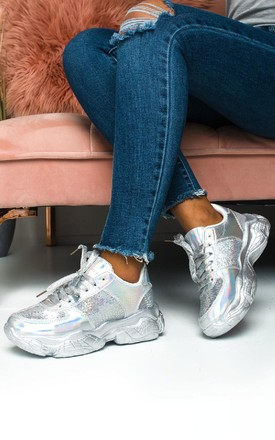Aimee Sequin Trainers in Silver by IKRUSH