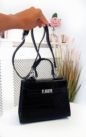 Sophia Croc Print Handbag in Black by IKRUSH