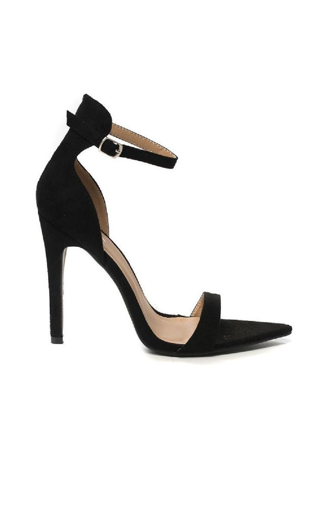 Joss Pointed Barely There Heels in Black by IKRUSH