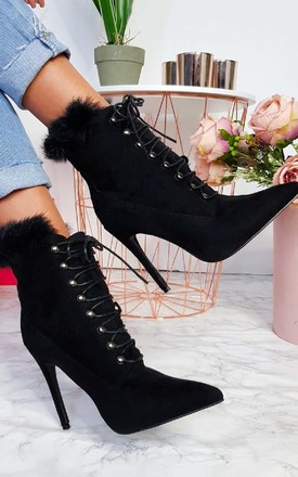 Karrah Faux Suede Lace Up Heeled Boots by IKRUSH