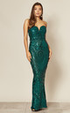 Kenza Green Sequin Maxi Dress by Nazz Collection
