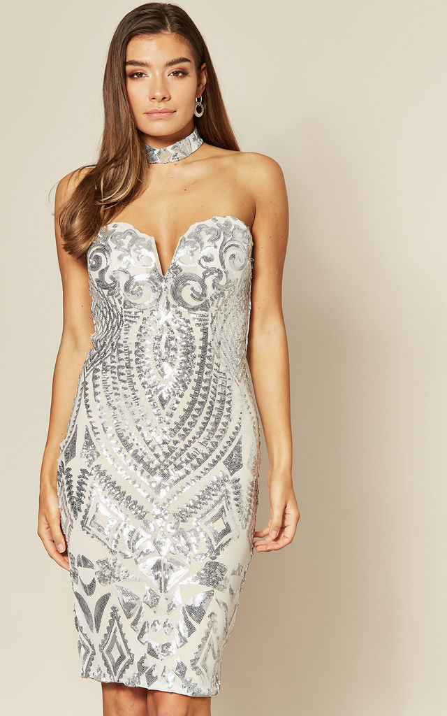 APHRODITE SILVER SEQUIN DRESS WITH CHOKER by Nazz Collection
